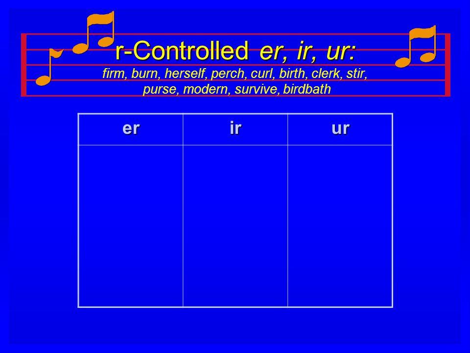 r-Controlled er, ir, ur: firm, burn, herself, perch, curl, birth, clerk, stir, purse, modern, survive, birdbath