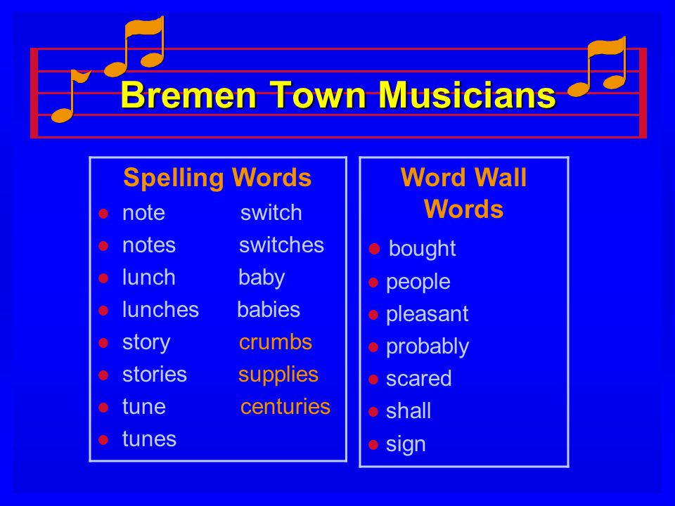 Bremen Town Musicians Spelling Words Word Wall Words bought