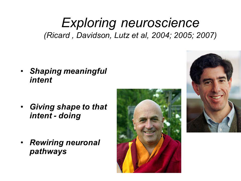 Exploring neuroscience (Ricard , Davidson, Lutz et al, 2004; 2005; 2007)
