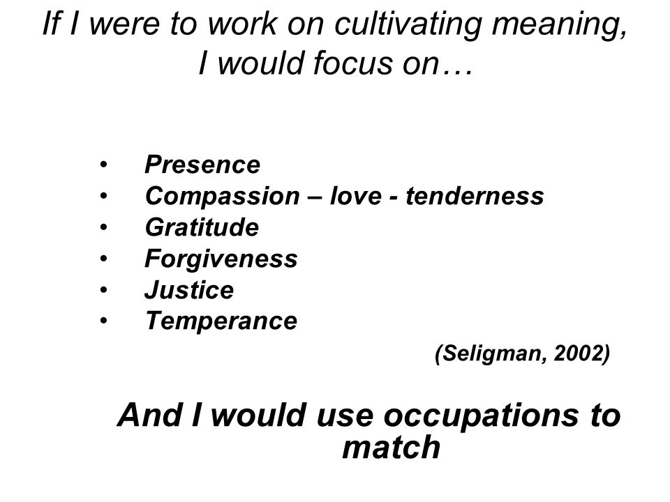 If I were to work on cultivating meaning, I would focus on…