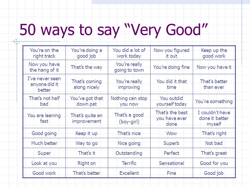 50 ways to say Very Good You're on the right track