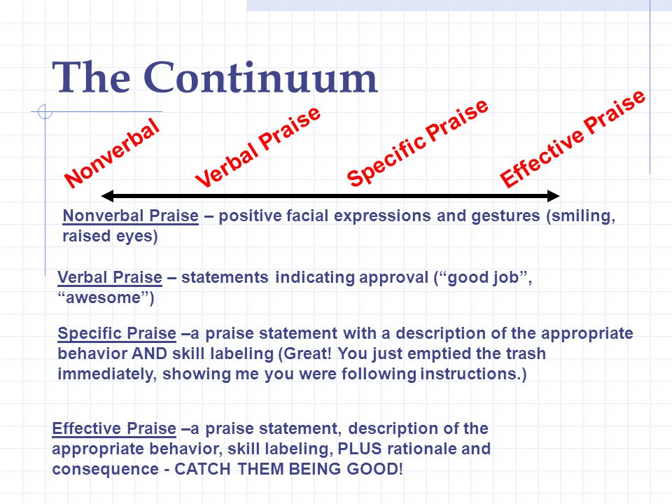The Continuum Effective Praise Verbal Praise Specific Praise Nonverbal