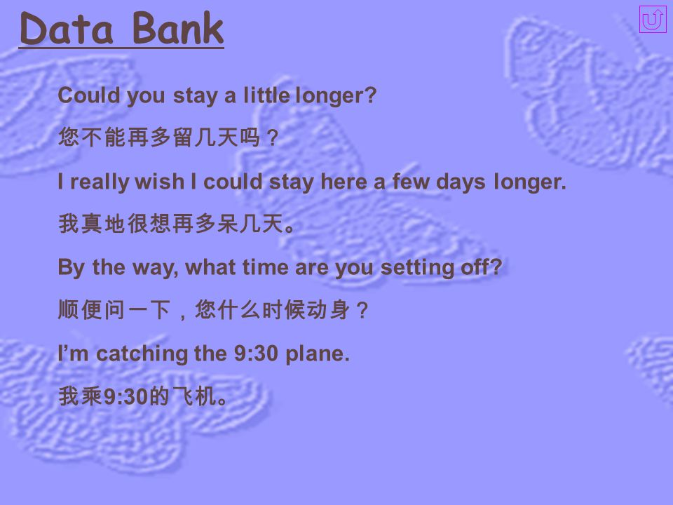 Data Bank Could you stay a little longer 您不能再多留几天吗?