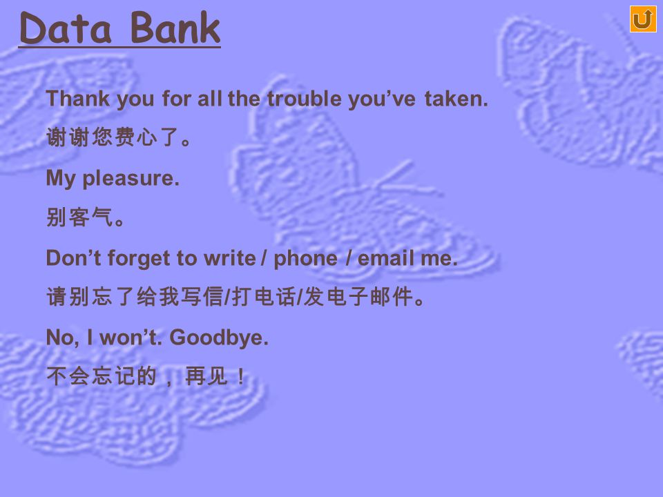 Data Bank Thank you for all the trouble you've taken. 谢谢您费心了。
