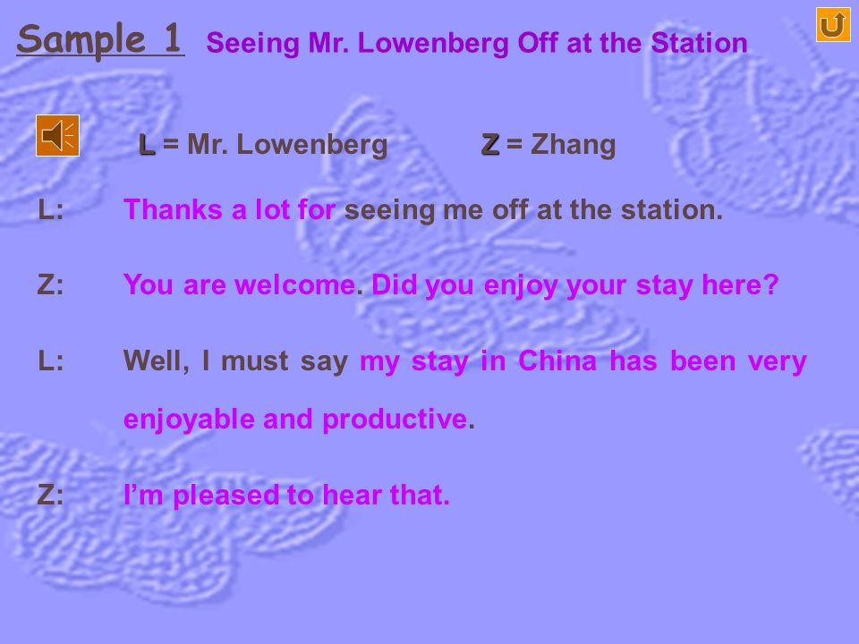 Sample 1 Seeing Mr. Lowenberg Off at the Station