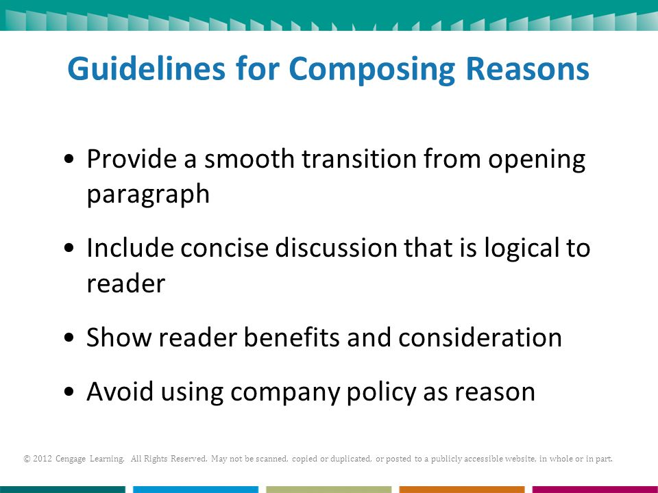 Guidelines for Composing Reasons