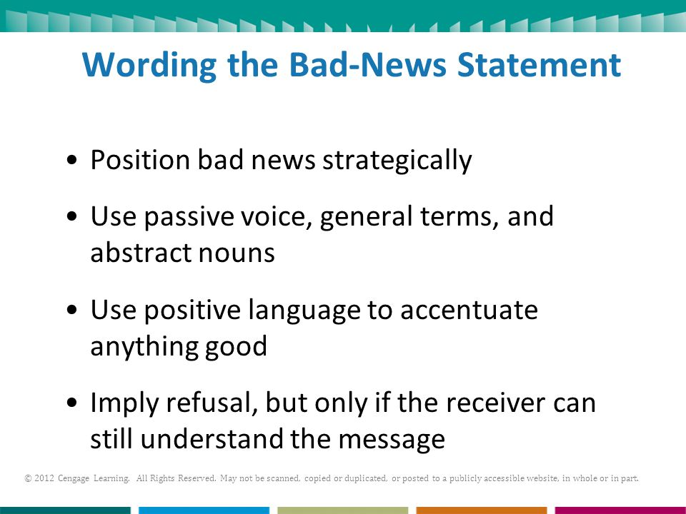 Wording the Bad-News Statement