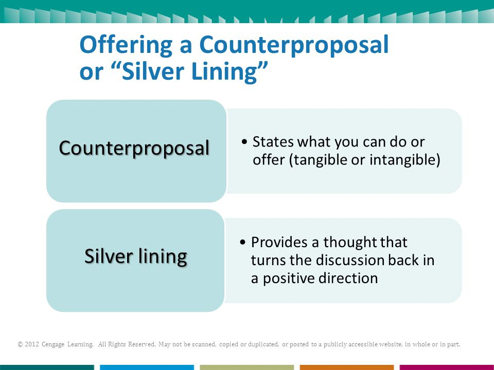 Offering a Counterproposal or Silver Lining