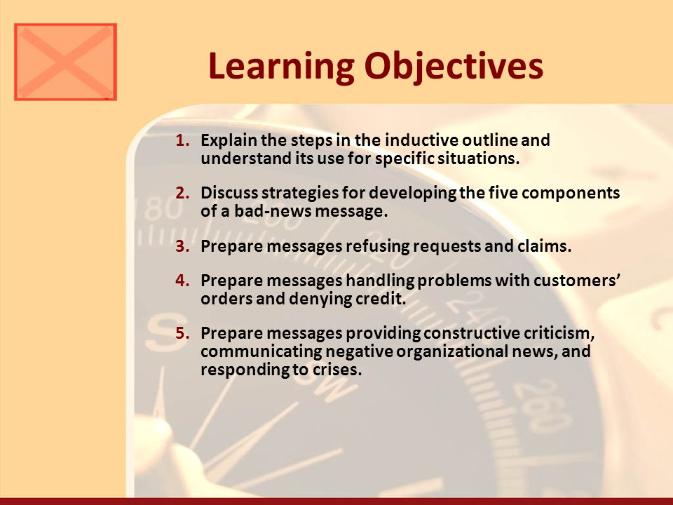 Learning Objectives 1. Explain the steps in the inductive outline and understand its use for specific situations.