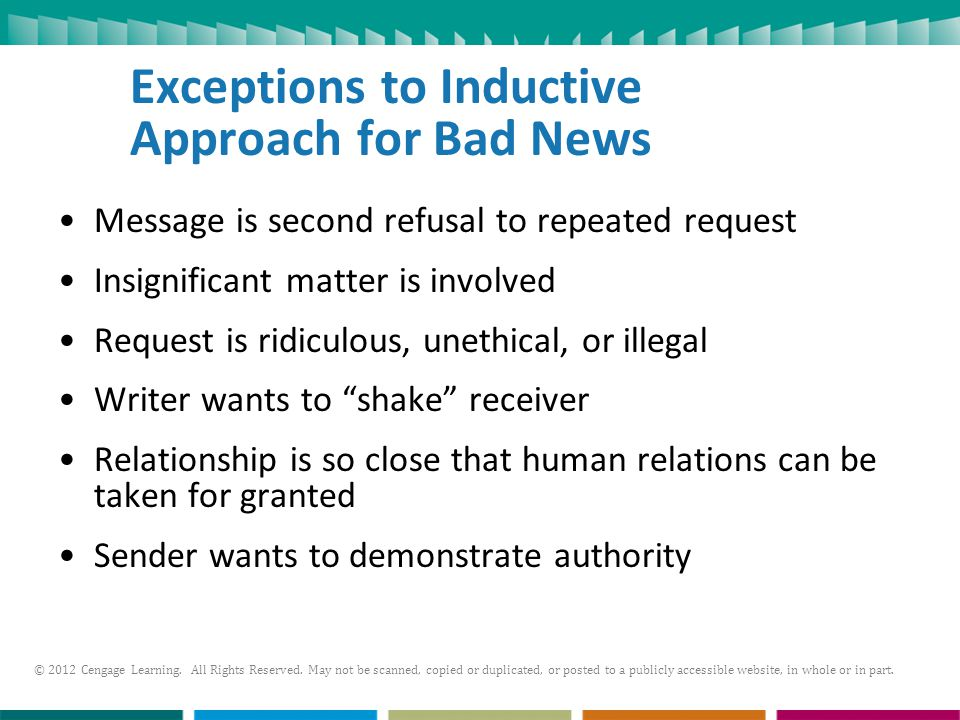 Exceptions to Inductive Approach for Bad News