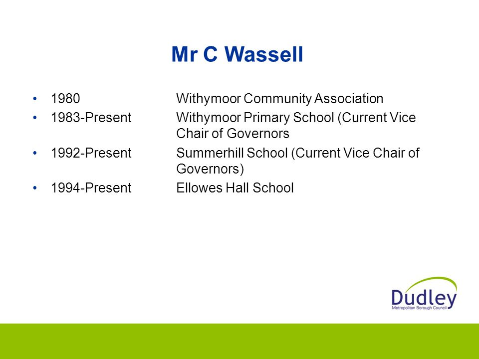 Mr C Wassell 1980 Withymoor Community Association