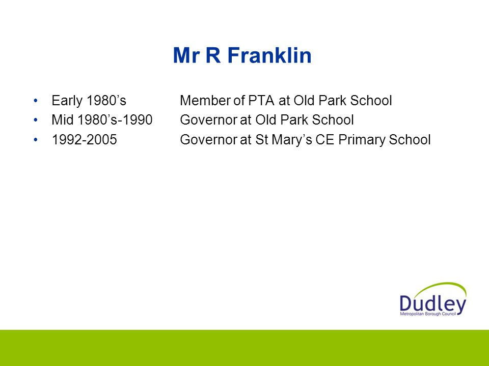 Mr R Franklin Early 1980's Member of PTA at Old Park School