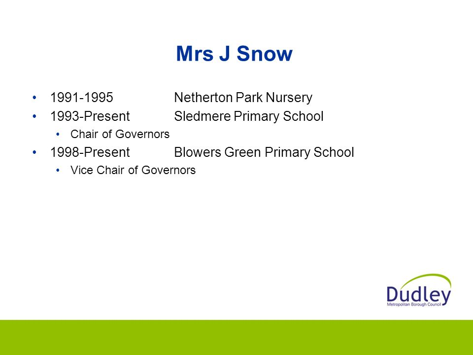 Mrs J Snow 1991-1995 Netherton Park Nursery