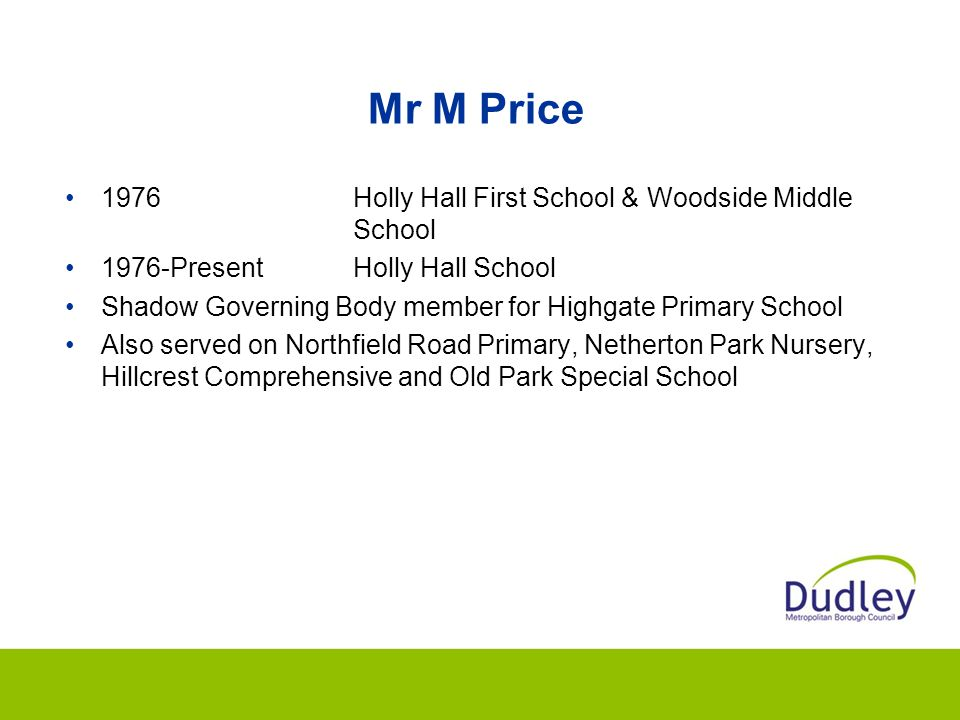 Mr M Price 1976 Holly Hall First School & Woodside Middle School