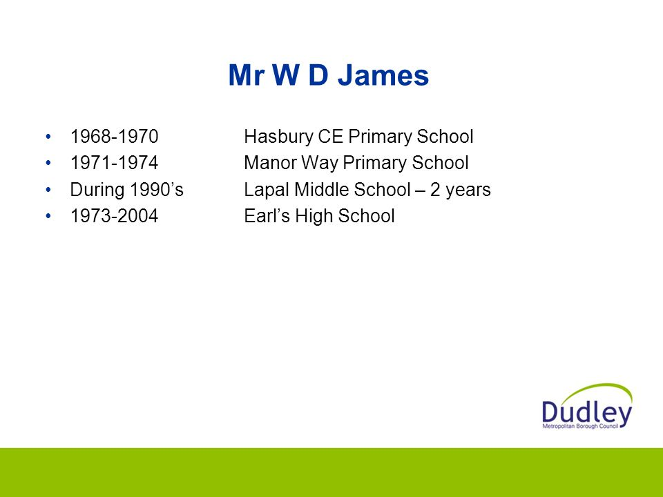 Mr W D James 1968-1970 Hasbury CE Primary School