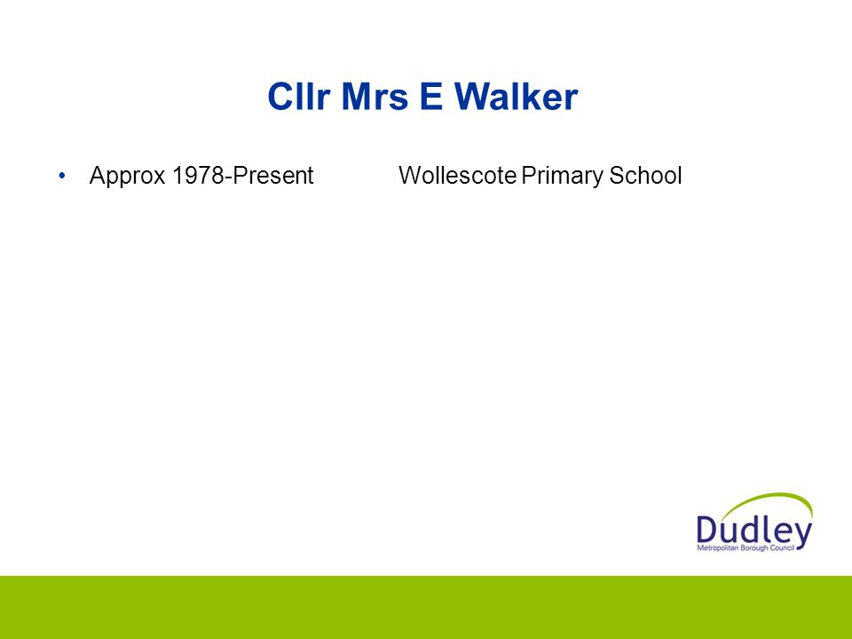 Cllr Mrs E Walker Approx 1978-Present Wollescote Primary School