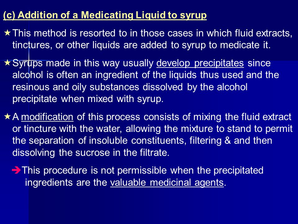 (c) Addition of a Medicating Liquid to syrup