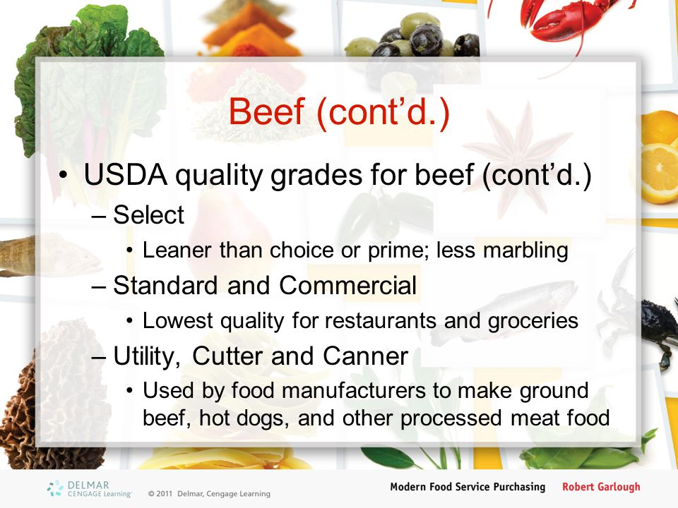 Beef (cont'd.) USDA quality grades for beef (cont'd.) Select