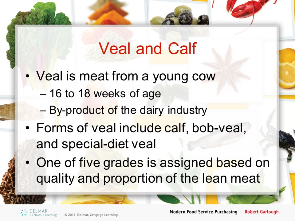 Veal and Calf Veal is meat from a young cow