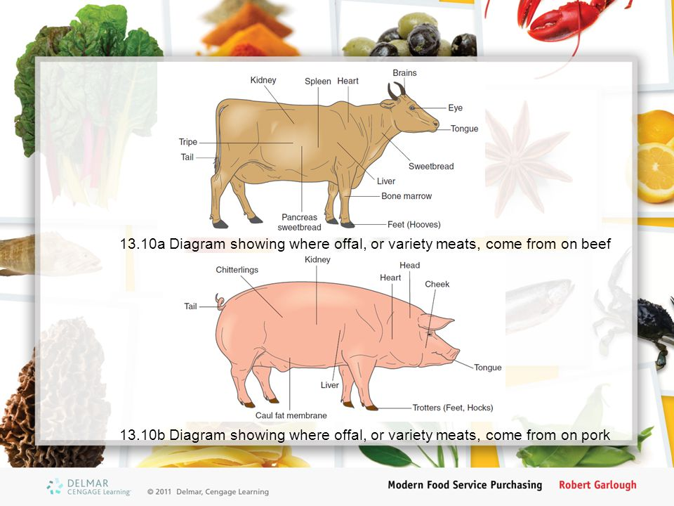 13.10a Diagram showing where offal, or variety meats, come from on beef