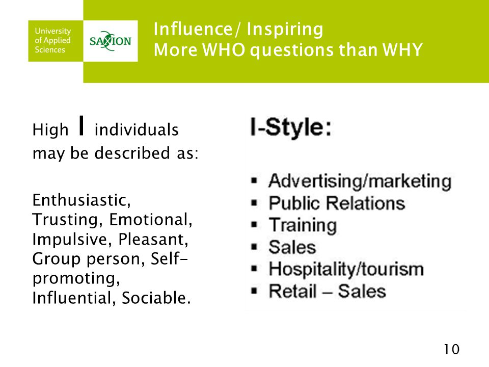 Influence/ Inspiring More WHO questions than WHY