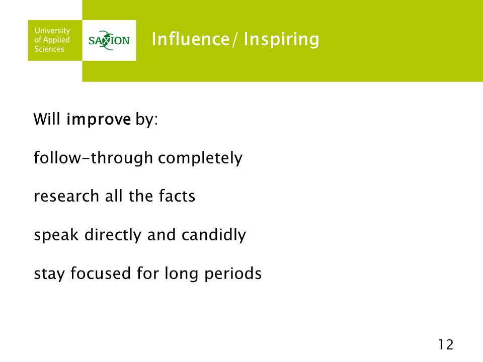 Influence/ Inspiring Will improve by: follow-through completely