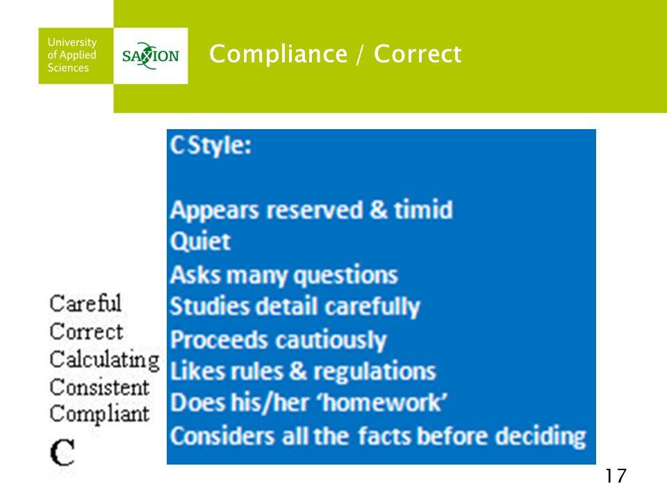 Compliance / Correct