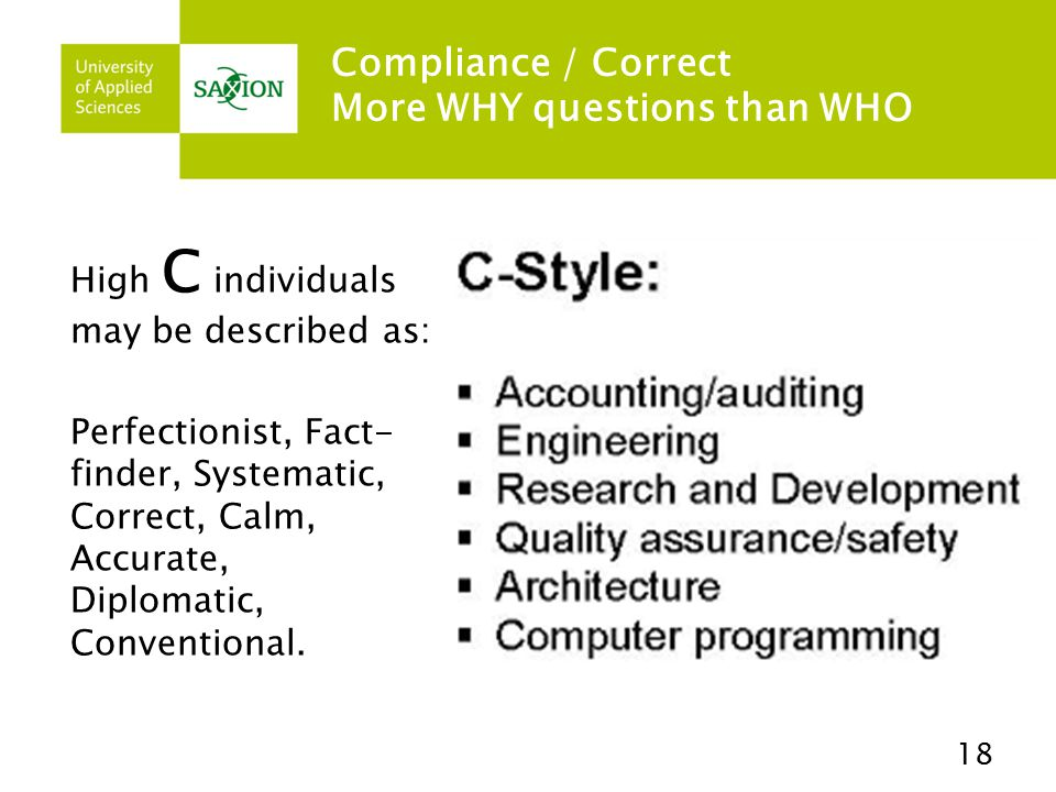 Compliance / Correct More WHY questions than WHO