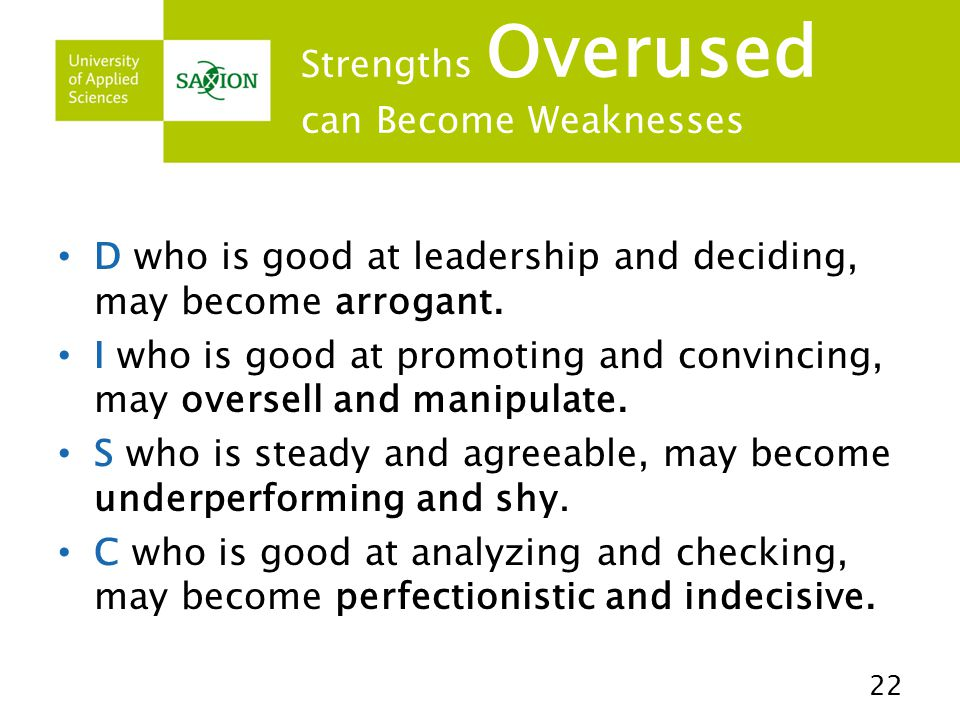 Strengths Overused can Become Weaknesses