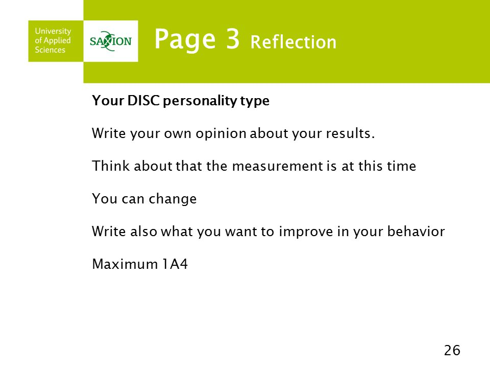 Page 3 Reflection Your DISC personality type
