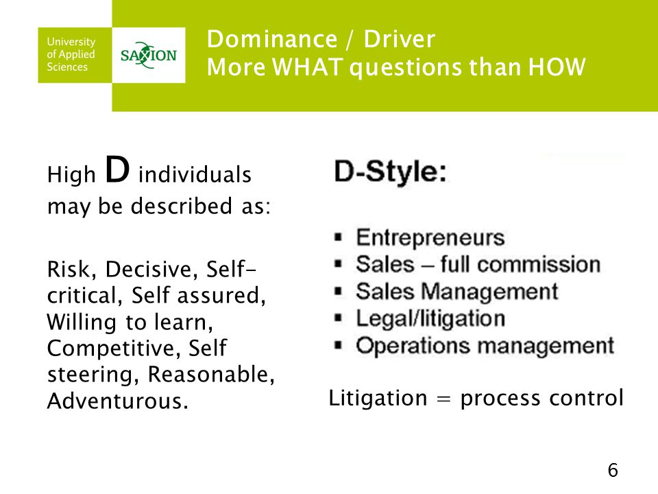 Dominance / Driver More WHAT questions than HOW