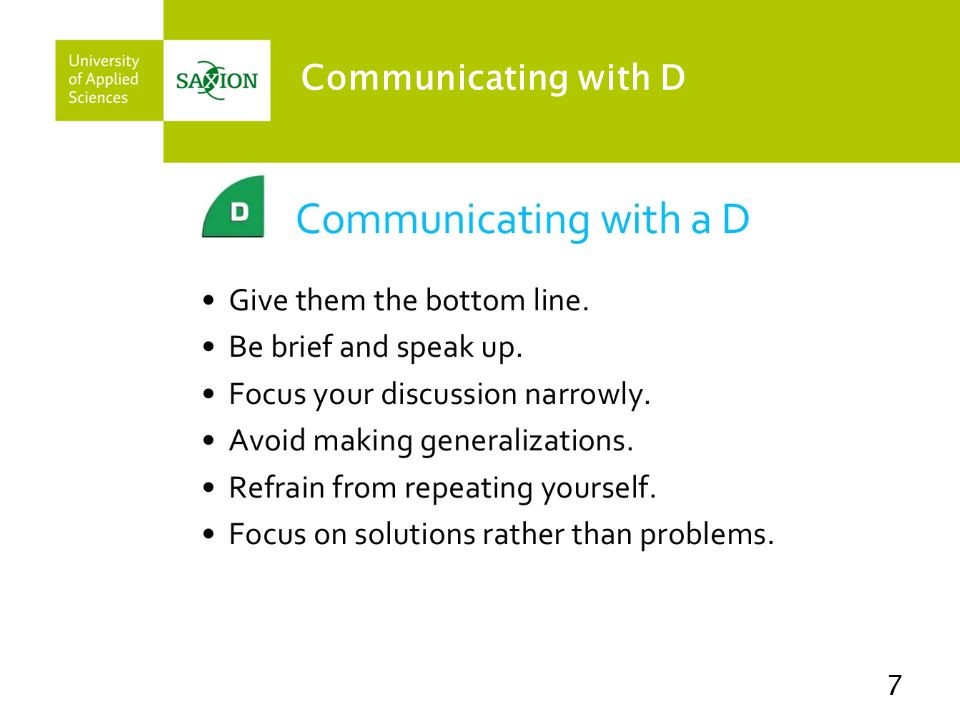 Communicating with D