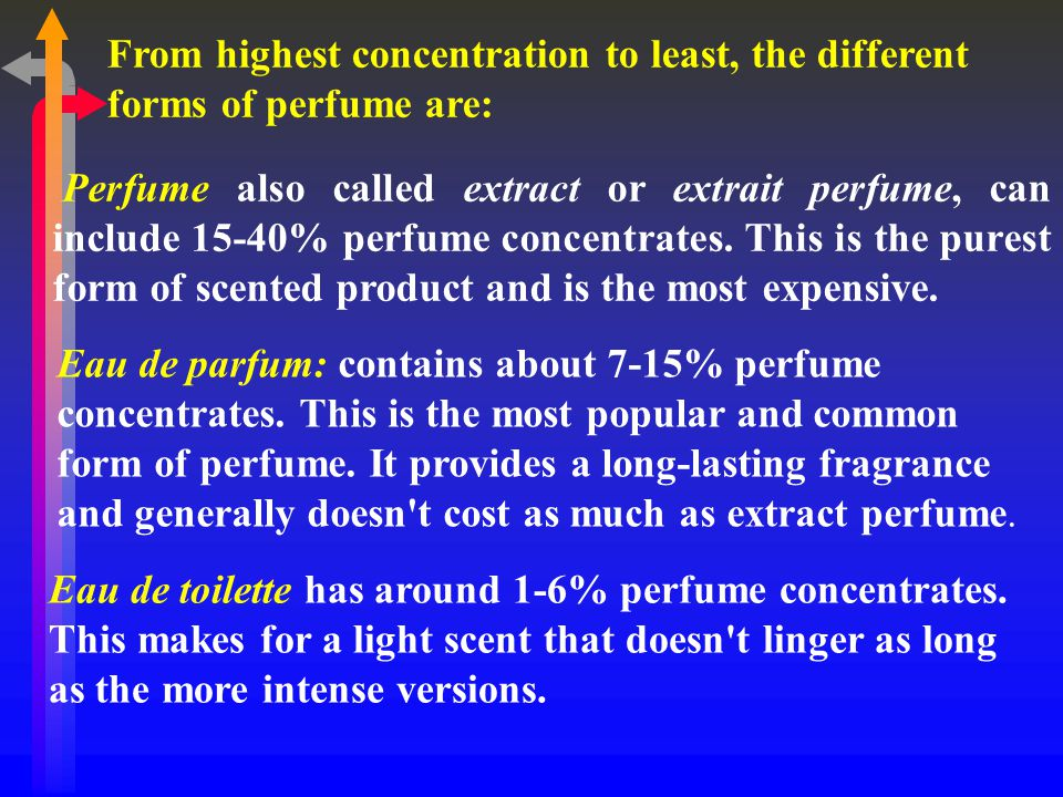 From highest concentration to least, the different forms of perfume are: