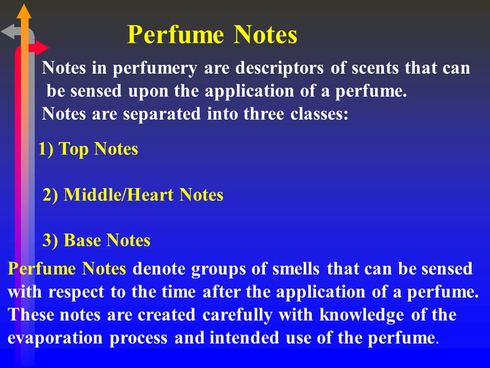 Perfume Notes Notes in perfumery are descriptors of scents that can