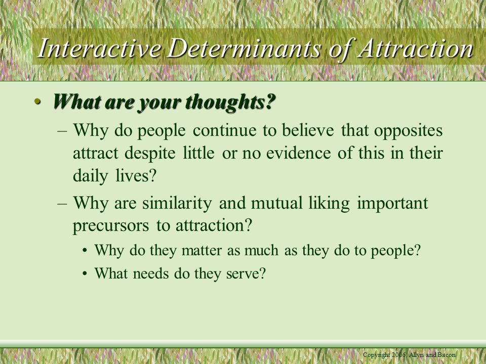 Interactive Determinants of Attraction