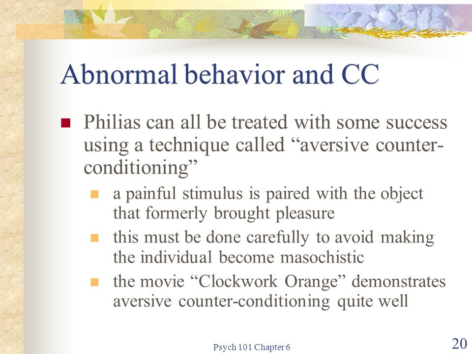 Abnormal behavior and CC