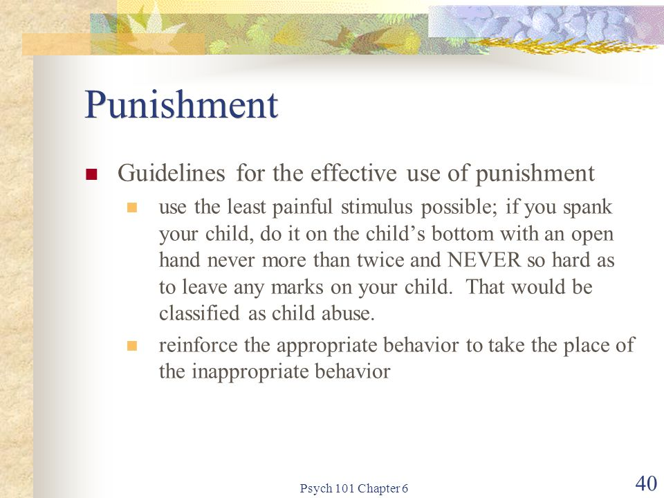 Punishment Guidelines for the effective use of punishment