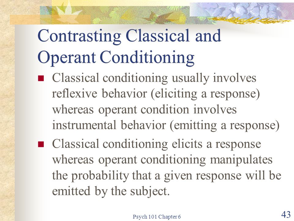 Contrasting Classical and Operant Conditioning