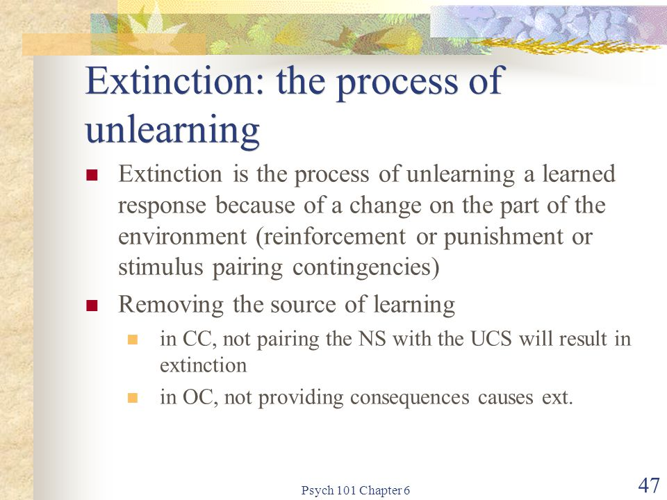 Extinction: the process of unlearning