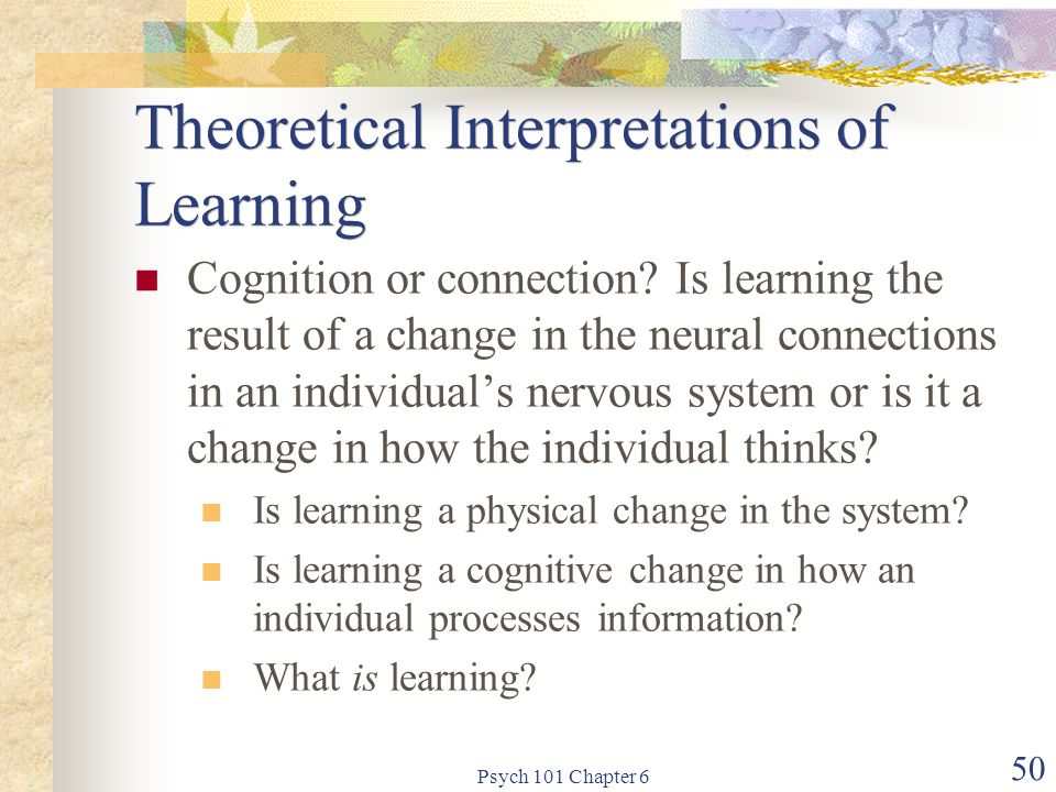 Theoretical Interpretations of Learning
