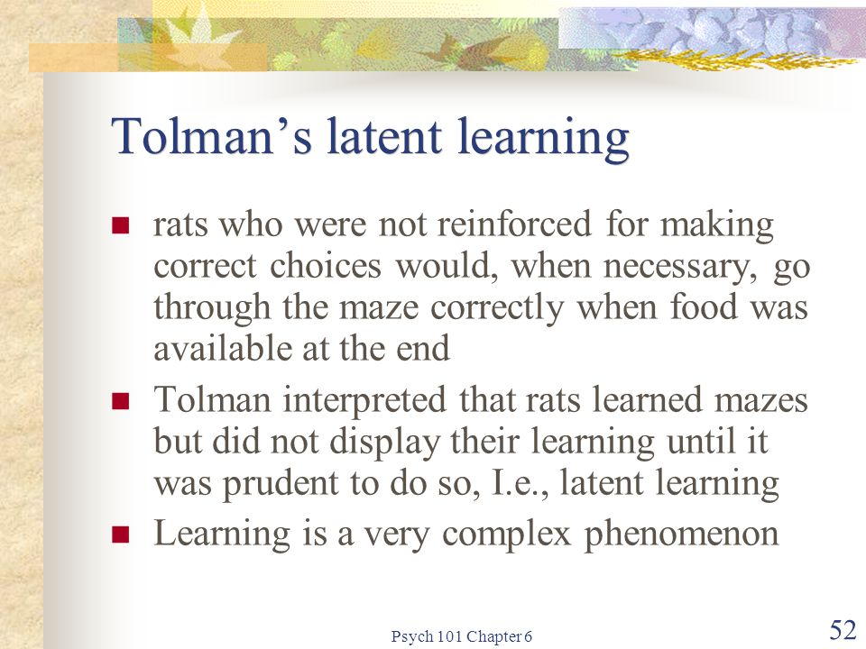 Tolman's latent learning