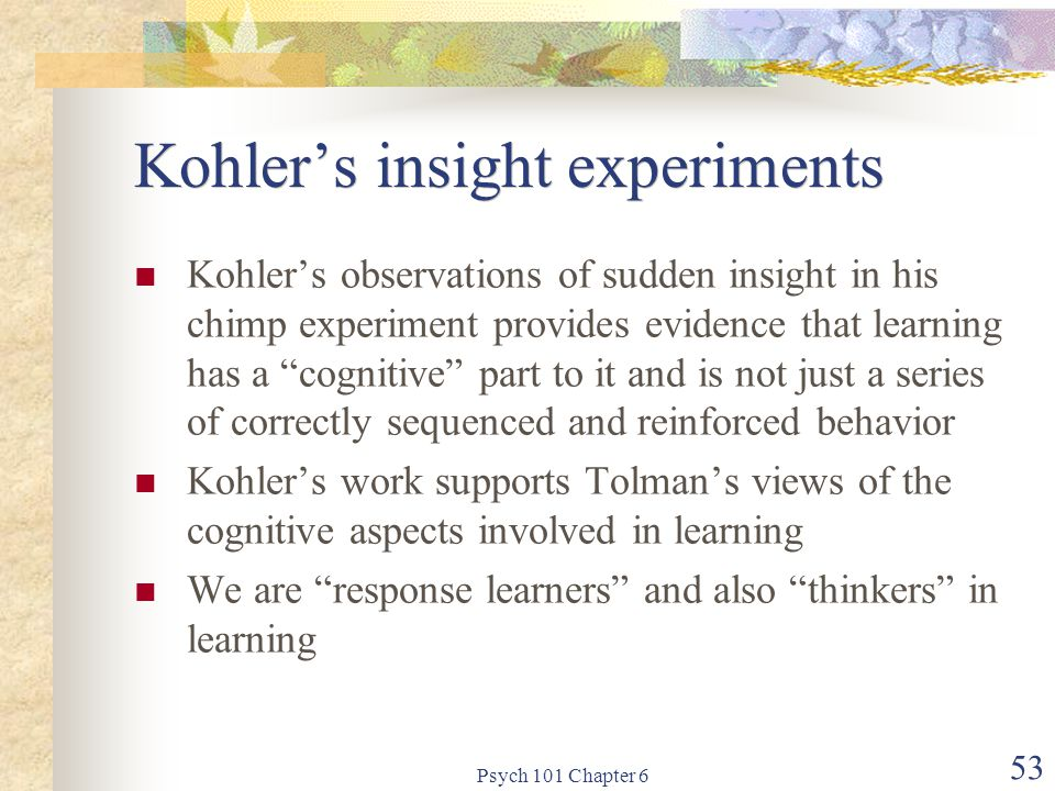 Kohler's insight experiments