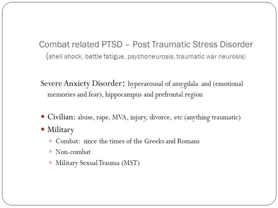 Civilian: abuse, rape, MVA, injury, divorce, etc (anything traumatic)