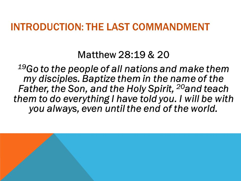 Introduction: the last commandment
