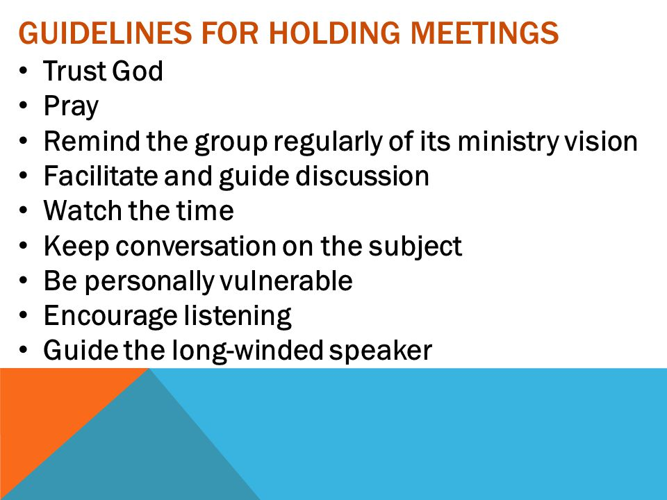 Guidelines for Holding Meetings