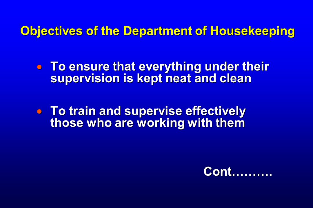 Objectives of the Department of Housekeeping