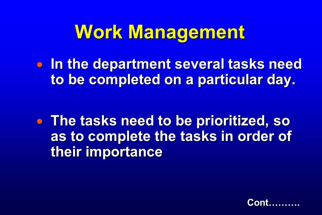 Work Management In the department several tasks need to be completed on a particular day.