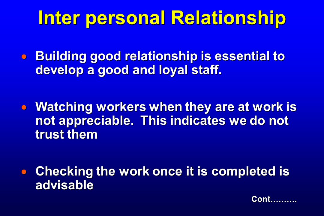 Inter personal Relationship
