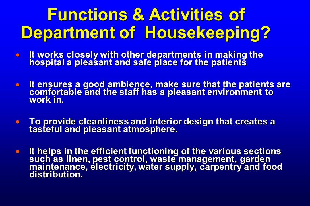 Functions & Activities of Department of Housekeeping