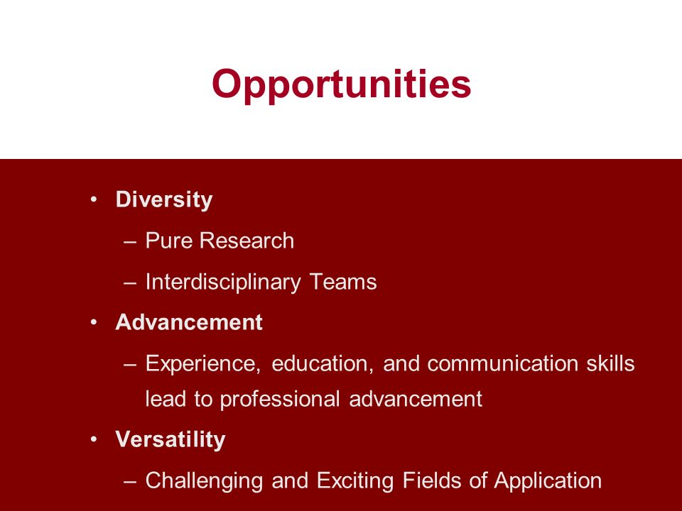 Opportunities Diversity Pure Research Interdisciplinary Teams